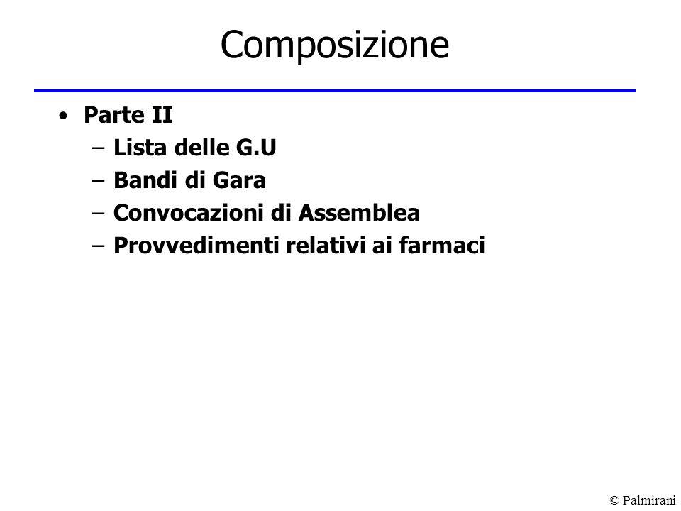 Composizione Parte II Lista delle G.U Bandi di Gara