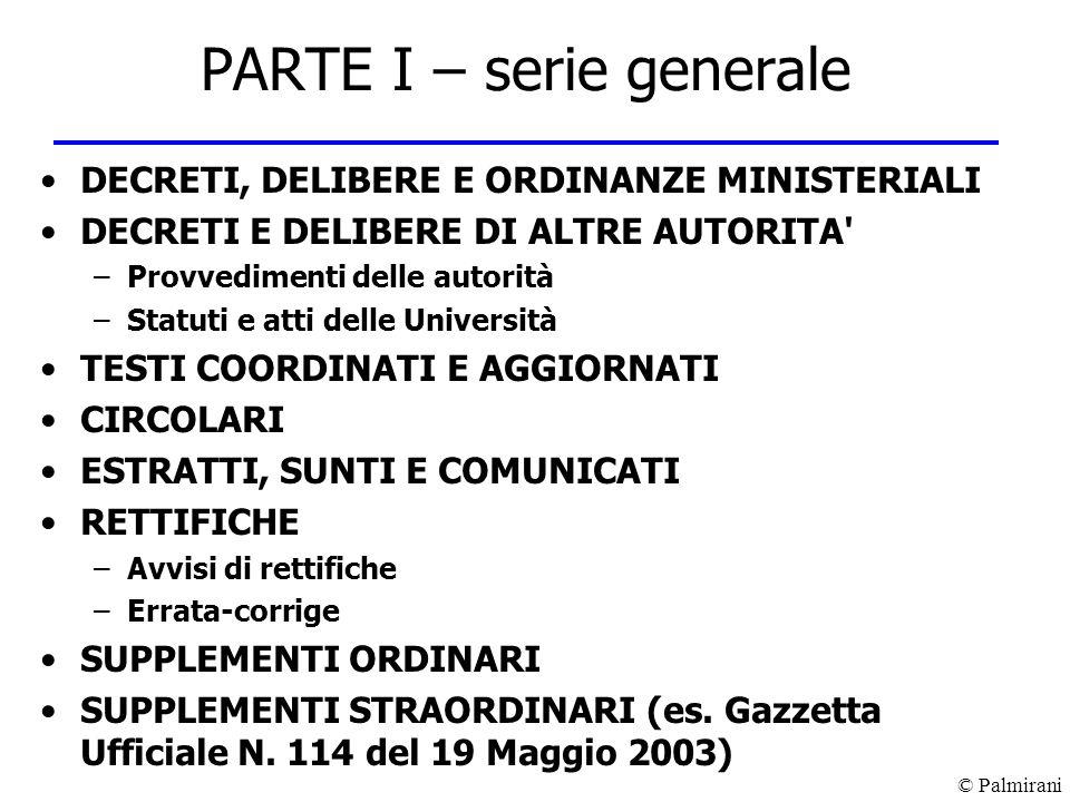 PARTE I – serie generale