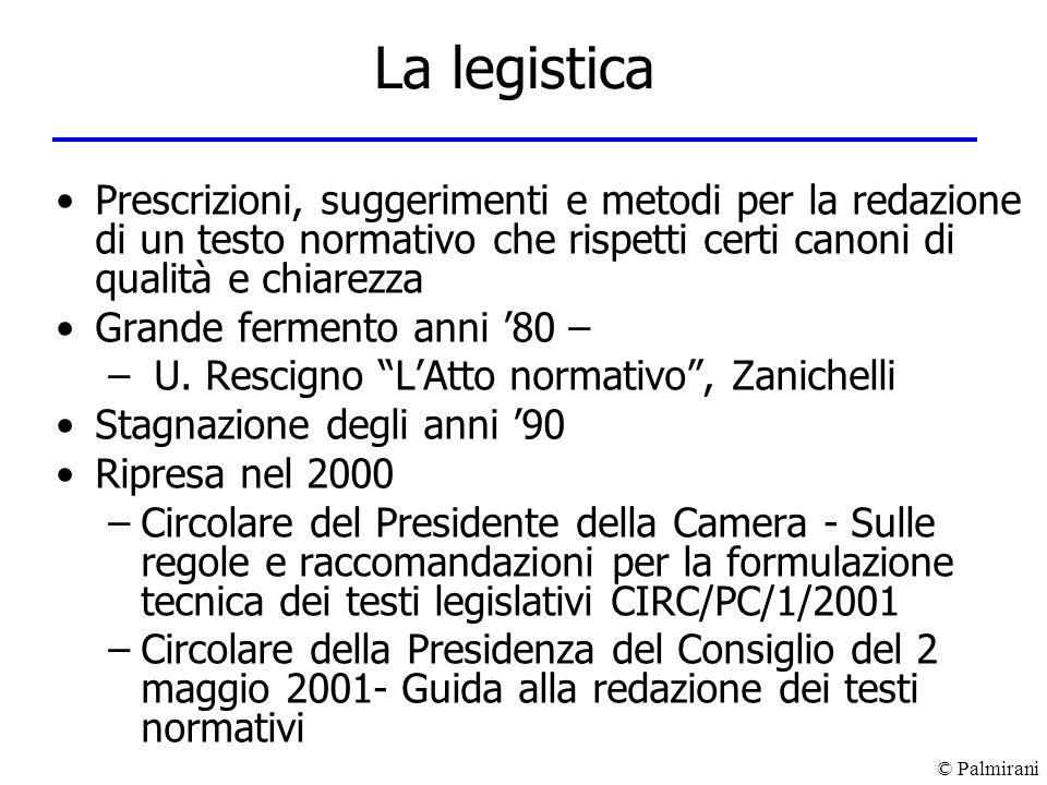 La legistica Prescrizioni, suggerimenti e metodi per la redazione di un testo normativo che rispetti certi canoni di qualità e chiarezza.