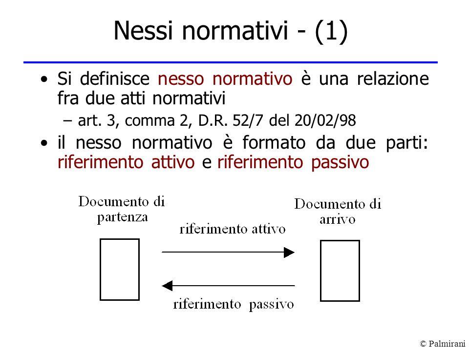 Nessi normativi - (1)Si definisce nesso normativo è una relazione fra due atti normativi. art. 3, comma 2, D.R. 52/7 del 20/02/98.