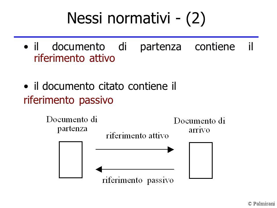 Nessi normativi - (2) il documento di partenza contiene il riferimento attivo. il documento citato contiene il.