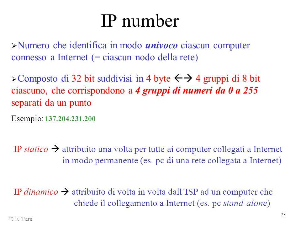 IP number Numero che identifica in modo univoco ciascun computer connesso a Internet (= ciascun nodo della rete)