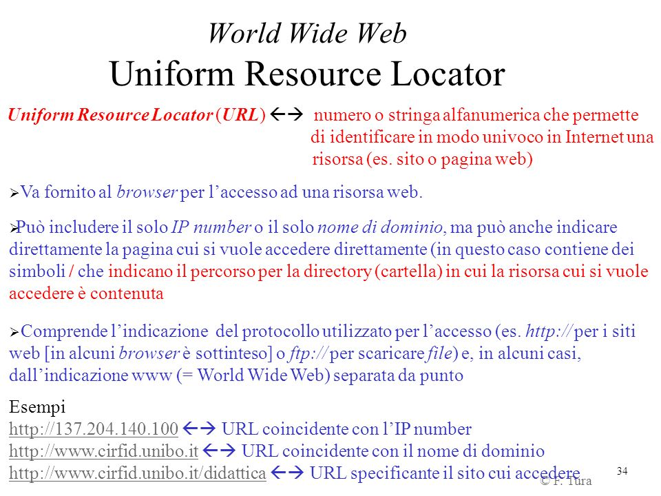 World Wide Web Uniform Resource Locator