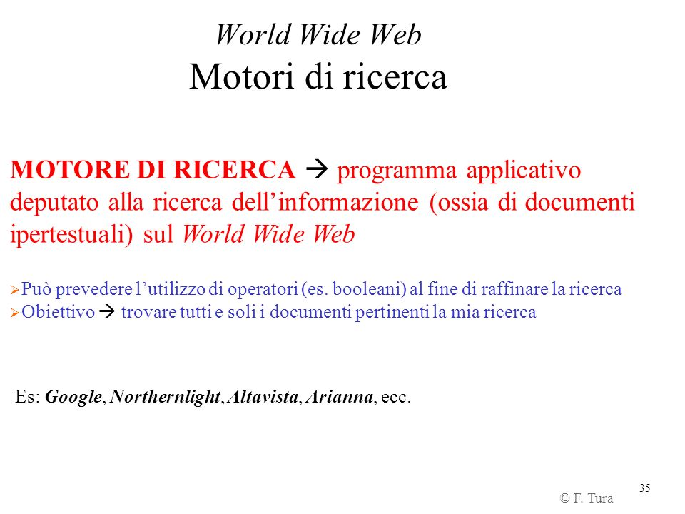 World Wide Web Motori di ricerca