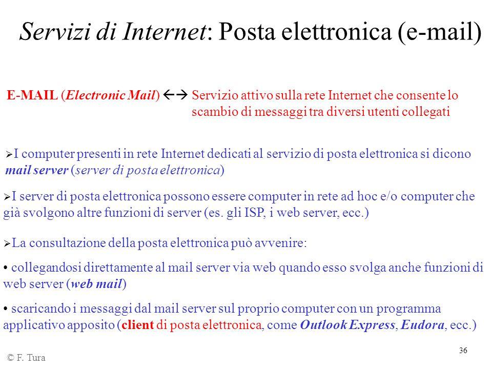 Servizi di Internet: Posta elettronica (e-mail)