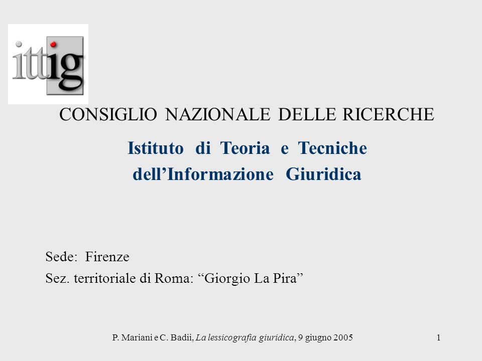 Sede: Firenze Sez. territoriale di Roma: Giorgio La Pira