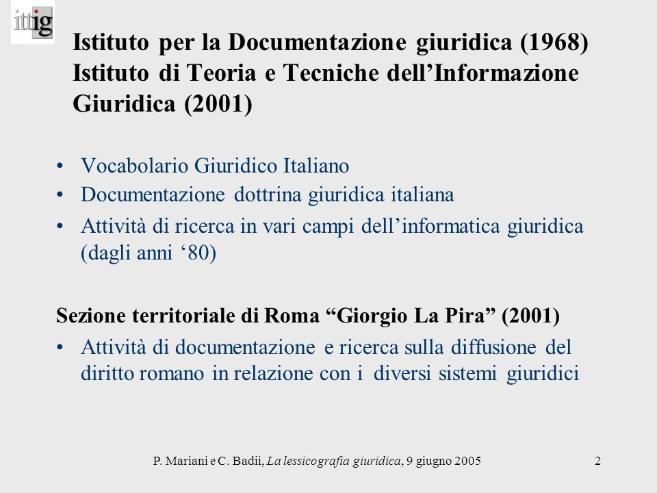 P. Mariani e C. Badii, La lessicografia giuridica, 9 giugno 2005