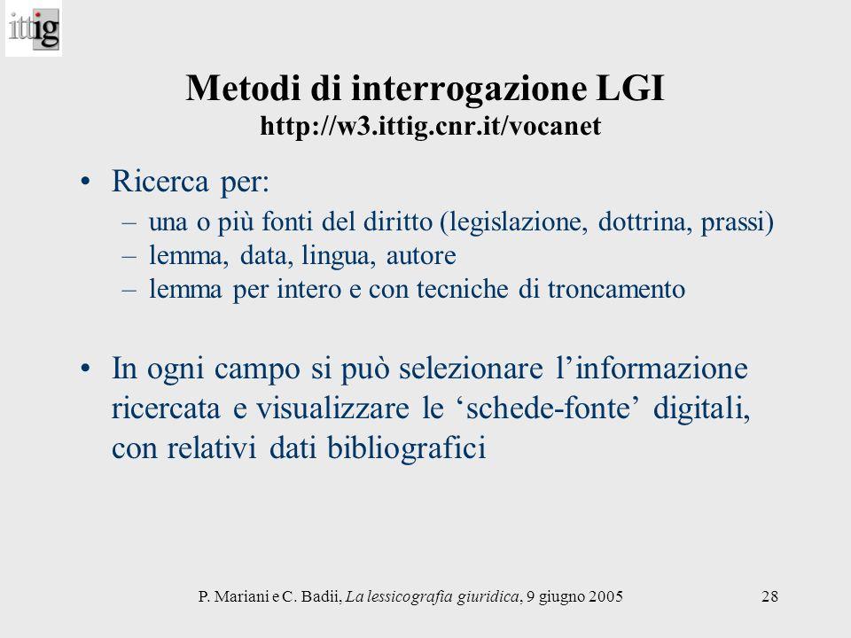 Metodi di interrogazione LGI http://w3.ittig.cnr.it/vocanet