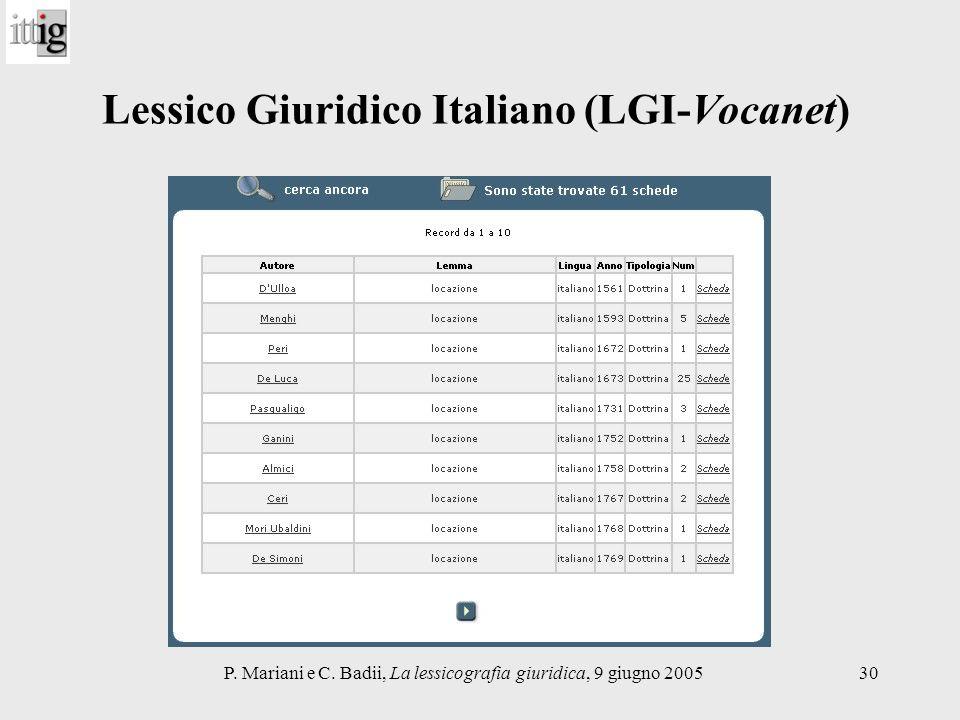 Lessico Giuridico Italiano (LGI-Vocanet)