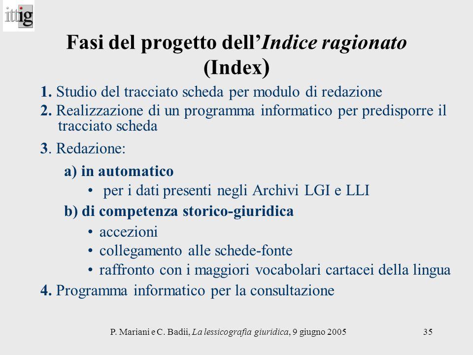 Fasi del progetto dell'Indice ragionato (Index)