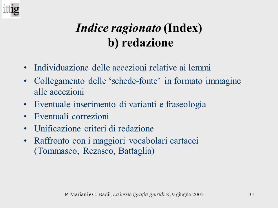 Indice ragionato (Index) b) redazione