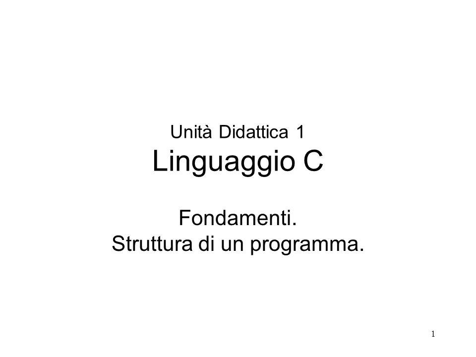 Unità Didattica 1 Linguaggio C