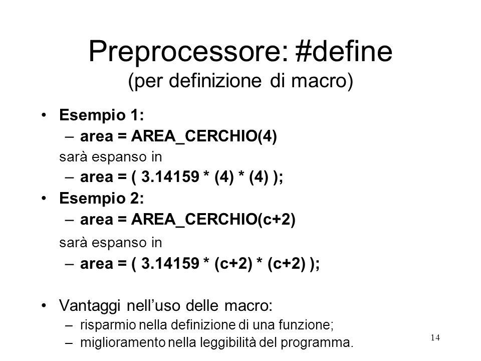 Preprocessore: #define (per definizione di macro)