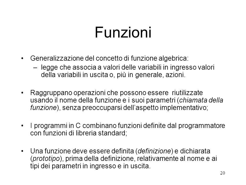 Funzioni Generalizzazione del concetto di funzione algebrica: