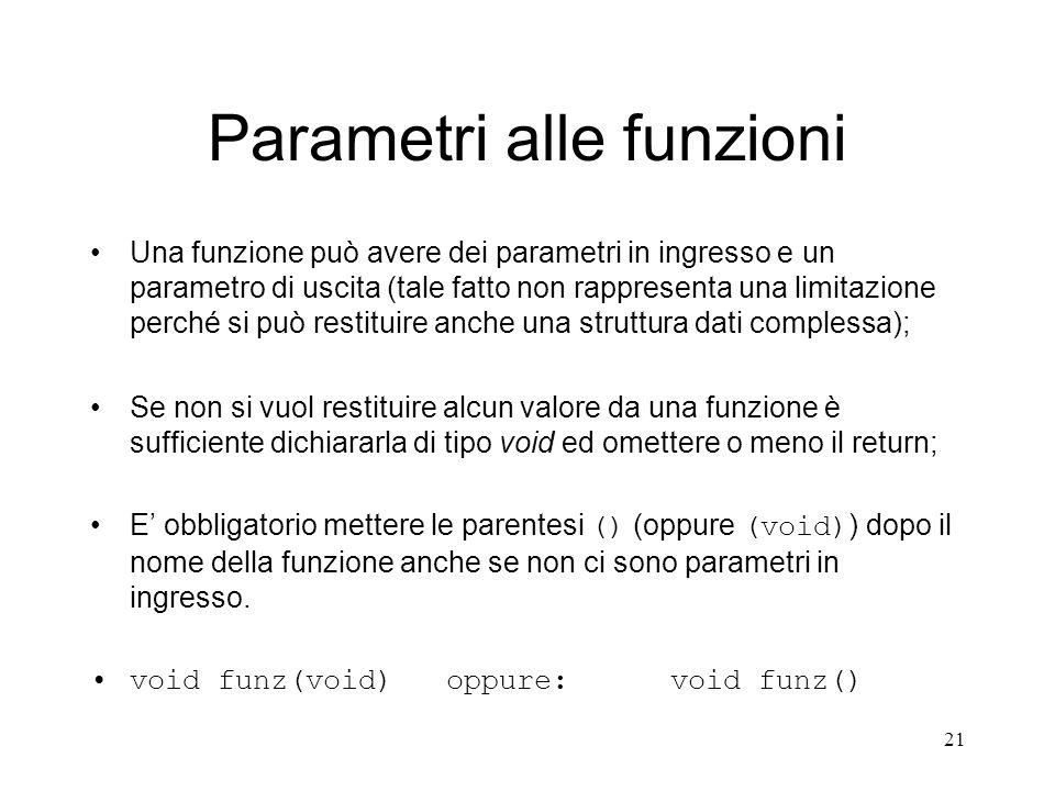 Parametri alle funzioni