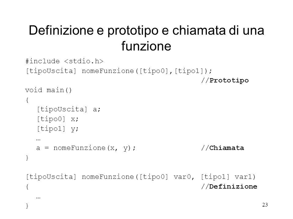 Definizione e prototipo e chiamata di una funzione
