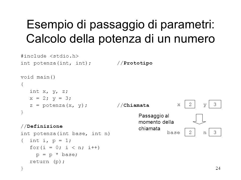 Esempio di passaggio di parametri: Calcolo della potenza di un numero