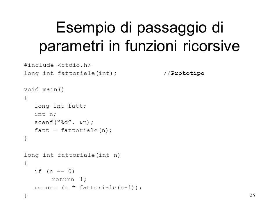 Esempio di passaggio di parametri in funzioni ricorsive