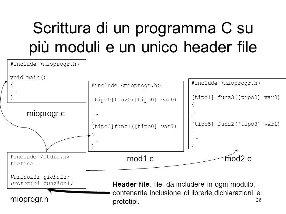 Scrittura di un programma C su più moduli e un unico header file