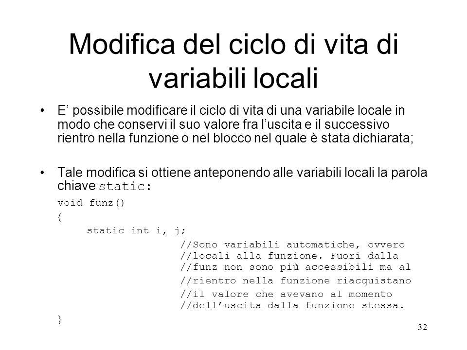 Modifica del ciclo di vita di variabili locali