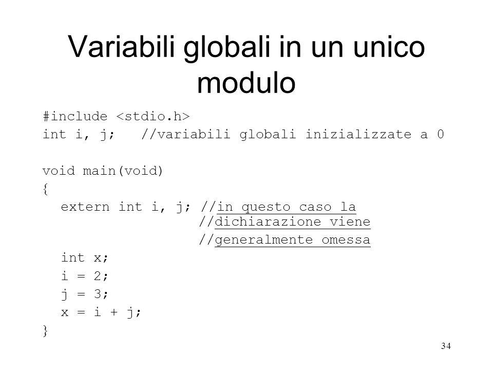 Variabili globali in un unico modulo