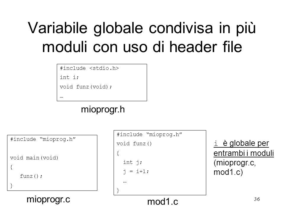 Variabile globale condivisa in più moduli con uso di header file
