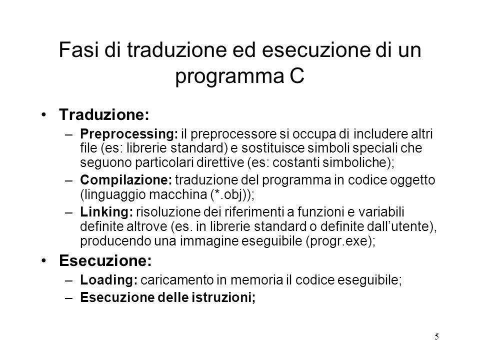 Fasi di traduzione ed esecuzione di un programma C