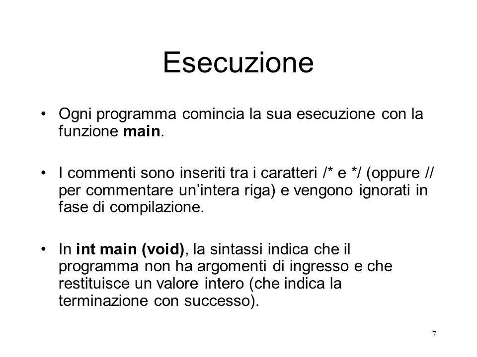 Esecuzione Ogni programma comincia la sua esecuzione con la funzione main.