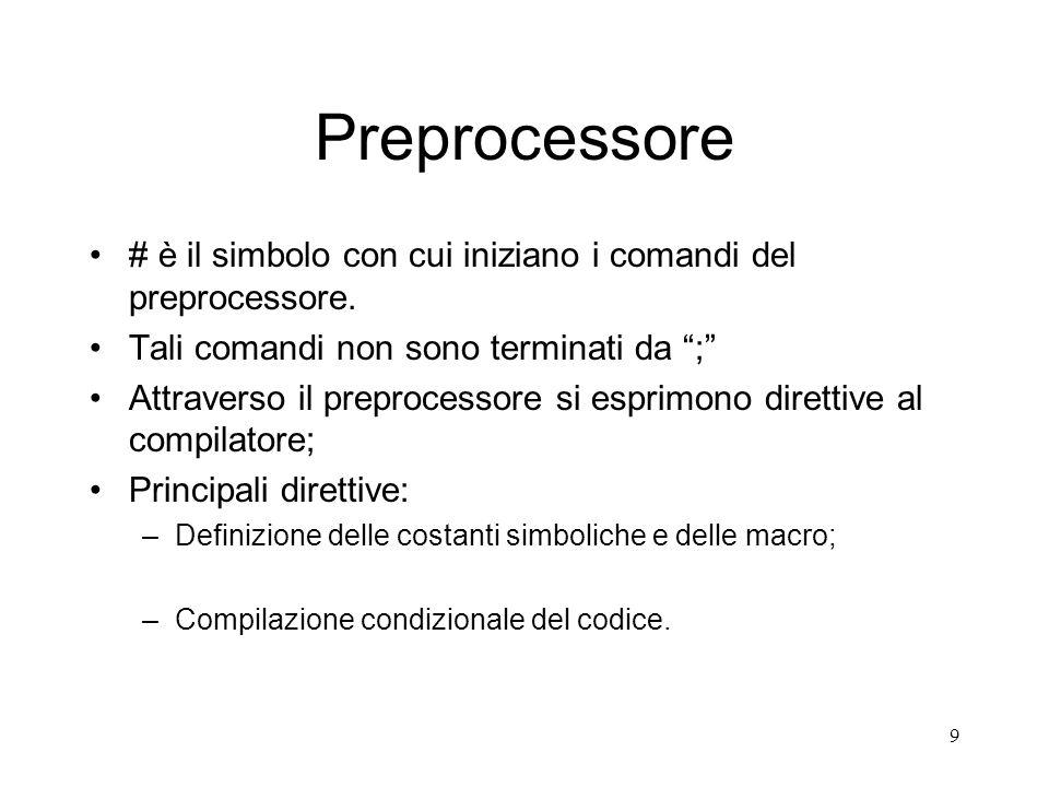 Preprocessore # è il simbolo con cui iniziano i comandi del preprocessore. Tali comandi non sono terminati da ;
