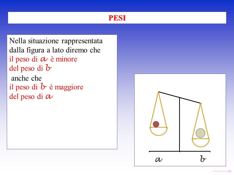 PESI Nella situazione rappresentata. dalla figura a lato diremo che. il peso di a è minore. del peso di b.