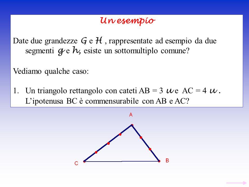 Un esempio Date due grandezze G e H , rappresentate ad esempio da due segmenti g e h, esiste un sottomultiplo comune