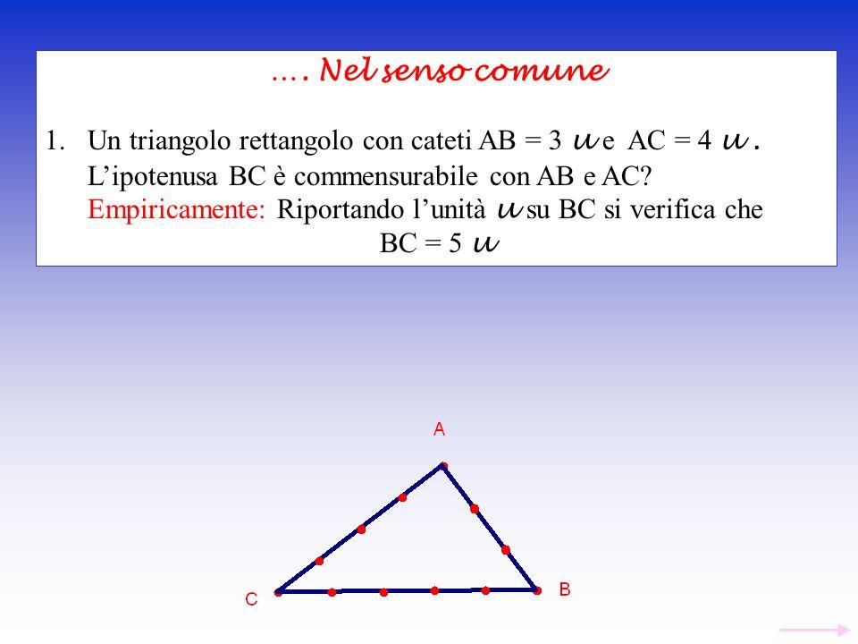 …. Nel senso comune Un triangolo rettangolo con cateti AB = 3 u e AC = 4 u . L'ipotenusa BC è commensurabile con AB e AC