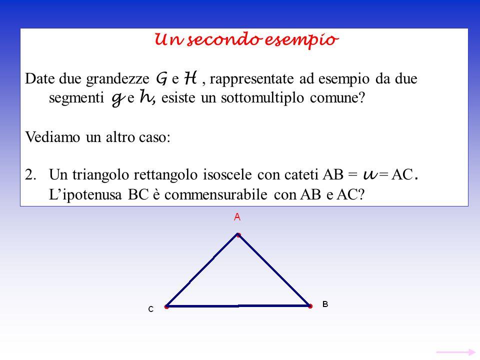 Un secondo esempio Date due grandezze G e H , rappresentate ad esempio da due segmenti g e h, esiste un sottomultiplo comune