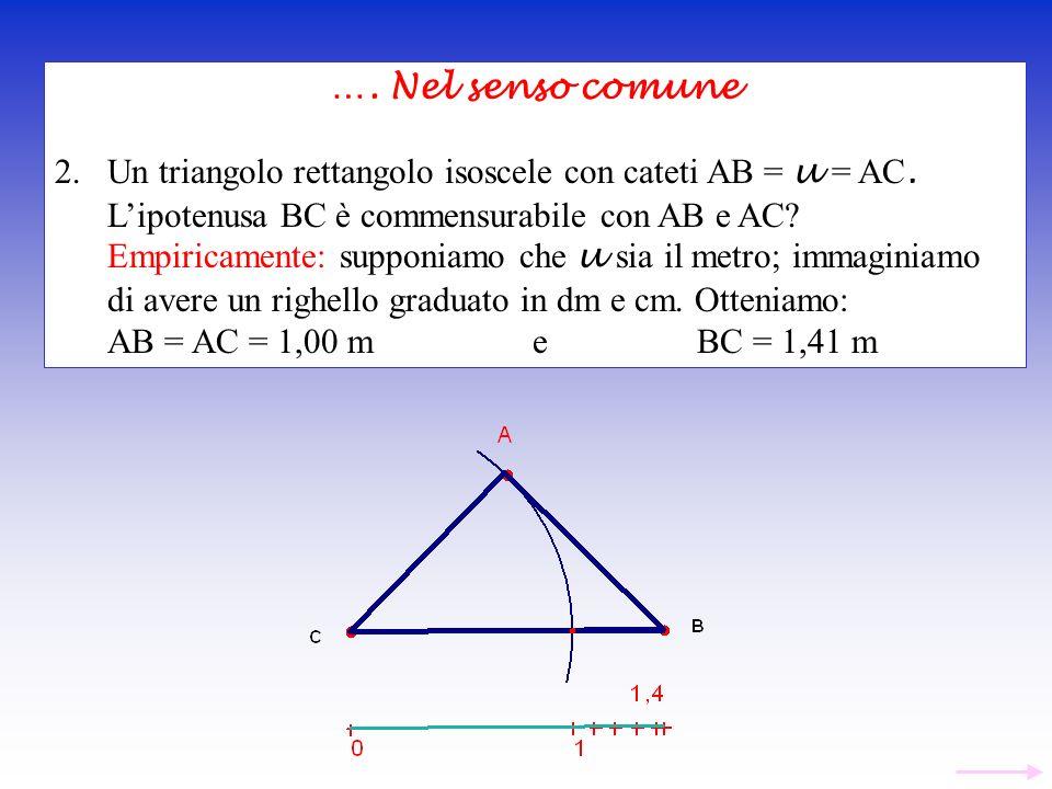 …. Nel senso comune Un triangolo rettangolo isoscele con cateti AB = u = AC. L'ipotenusa BC è commensurabile con AB e AC