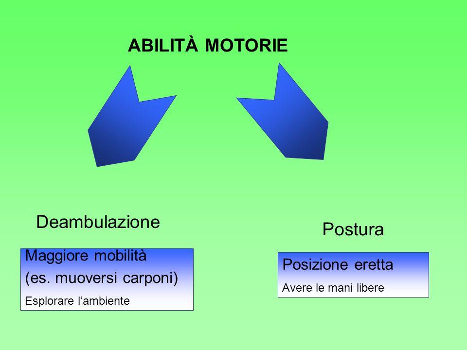 ABILITÀ MOTORIE Deambulazione Postura Maggiore mobilità