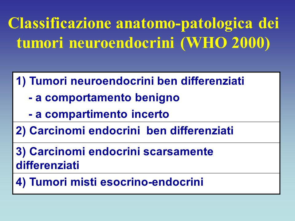 Classificazione anatomo-patologica dei tumori neuroendocrini (WHO 2000)