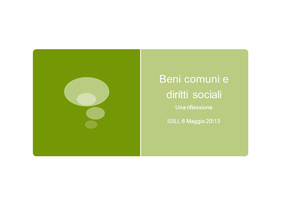 Beni comuni e diritti sociali