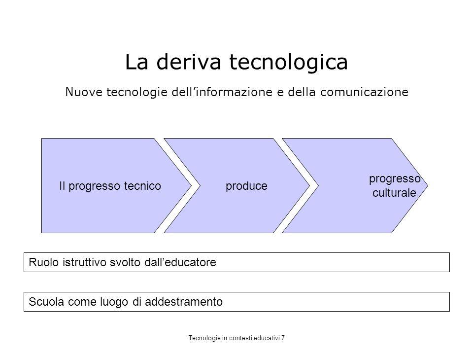 La deriva tecnologica Nuove tecnologie dell'informazione e della comunicazione. Il progresso tecnico.