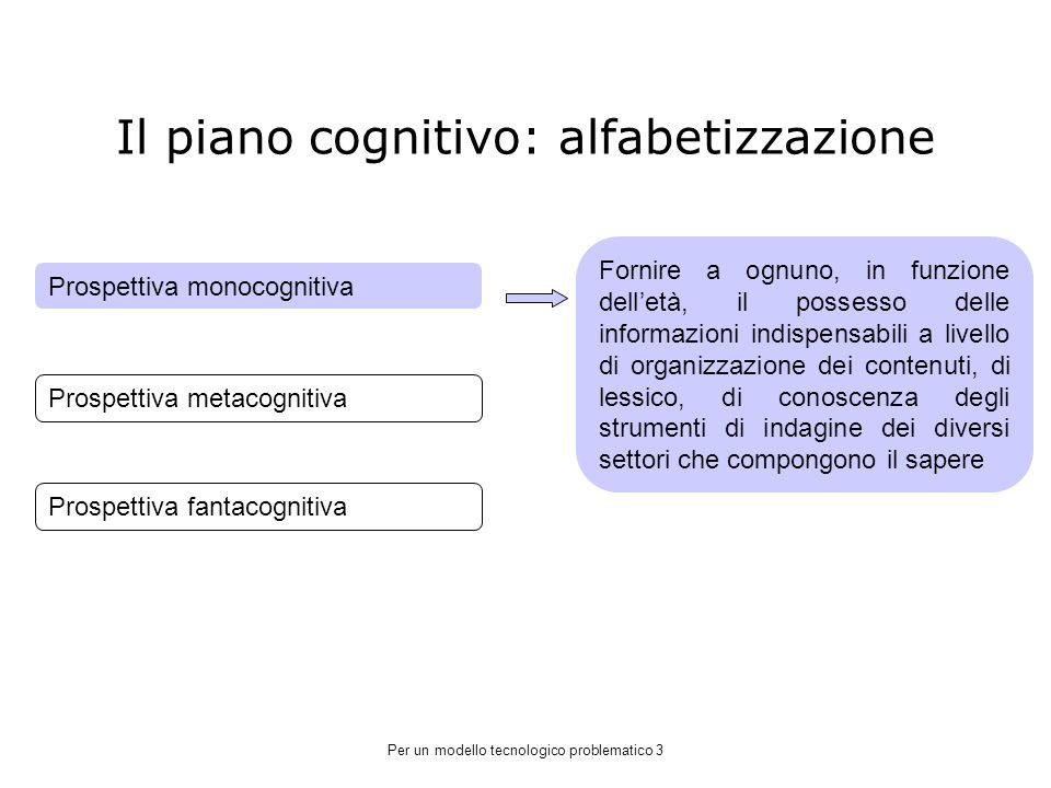 Il piano cognitivo: alfabetizzazione