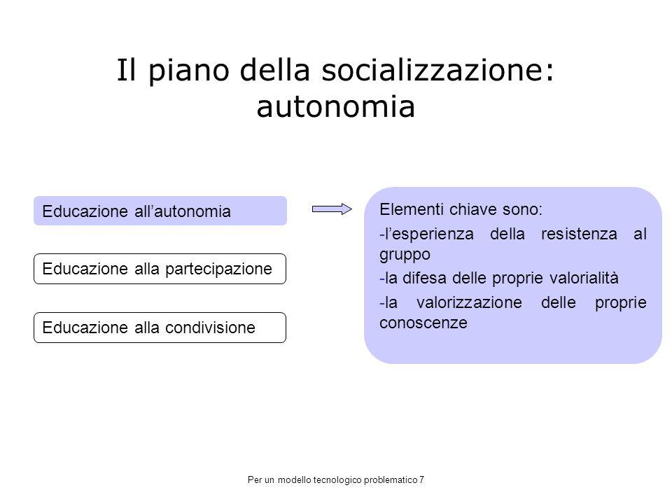 Il piano della socializzazione: autonomia
