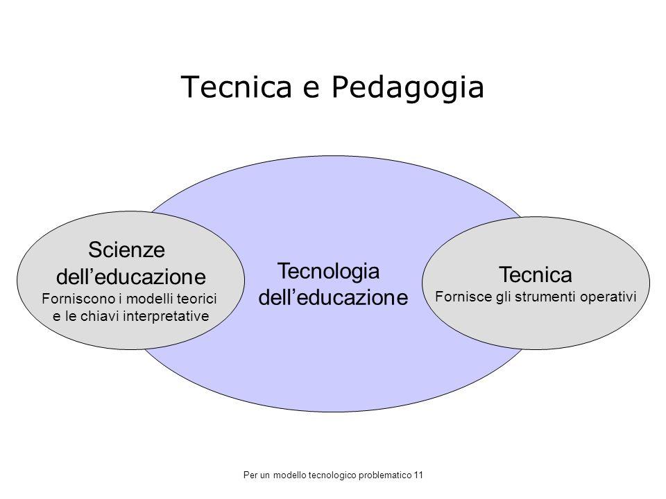 Tecnica e Pedagogia Tecnologia dell'educazione Scienze dell'educazione