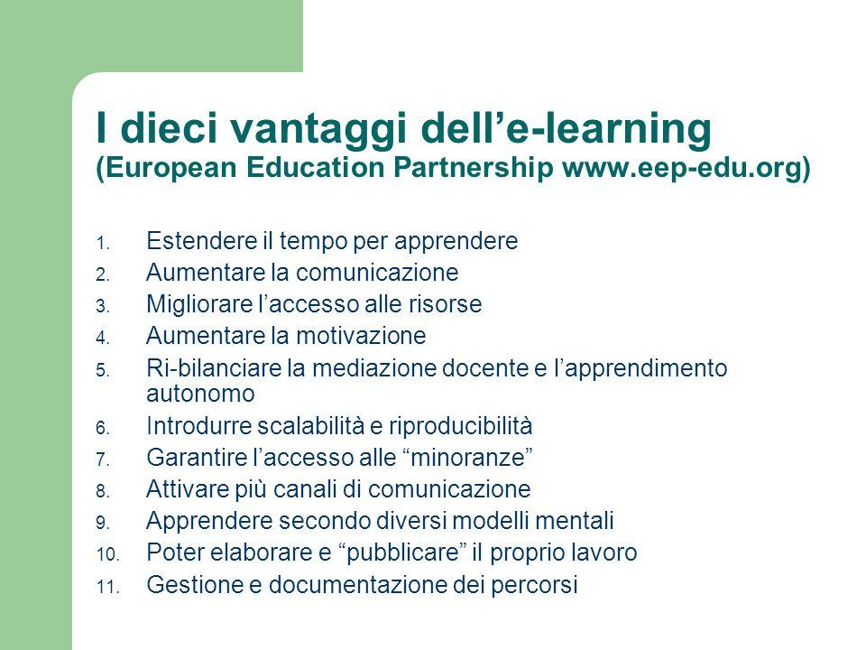 I dieci vantaggi dell'e-learning (European Education Partnership www