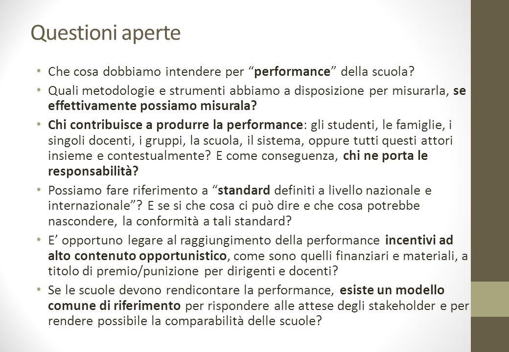 Questioni aperte Che cosa dobbiamo intendere per performance della scuola