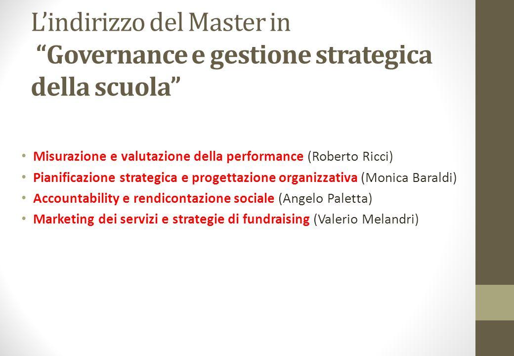 L'indirizzo del Master in Governance e gestione strategica della scuola