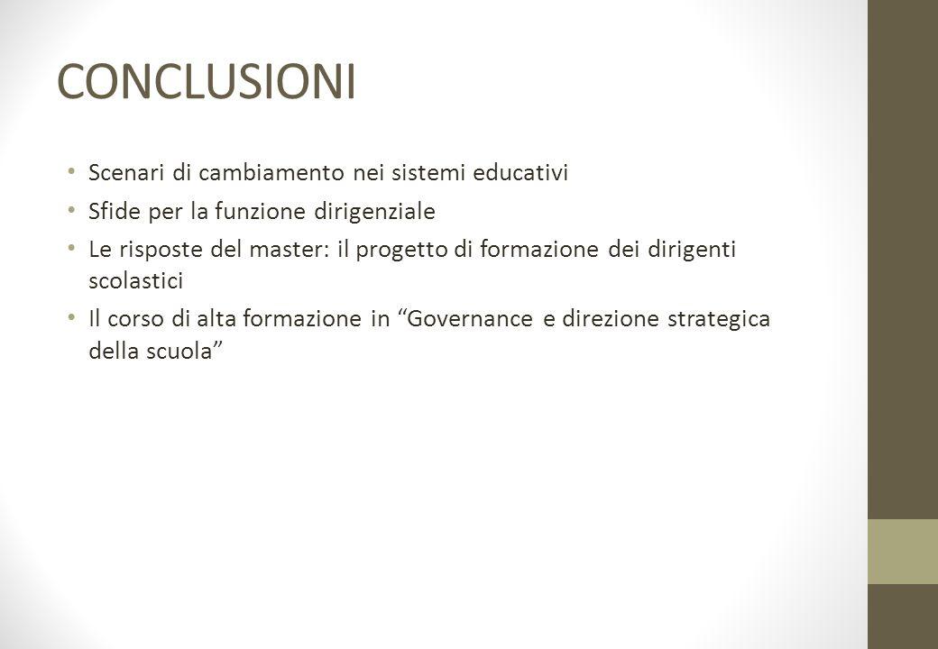 CONCLUSIONI Scenari di cambiamento nei sistemi educativi