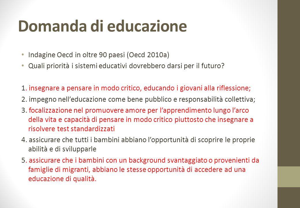 Domanda di educazione Indagine Oecd in oltre 90 paesi (Oecd 2010a)
