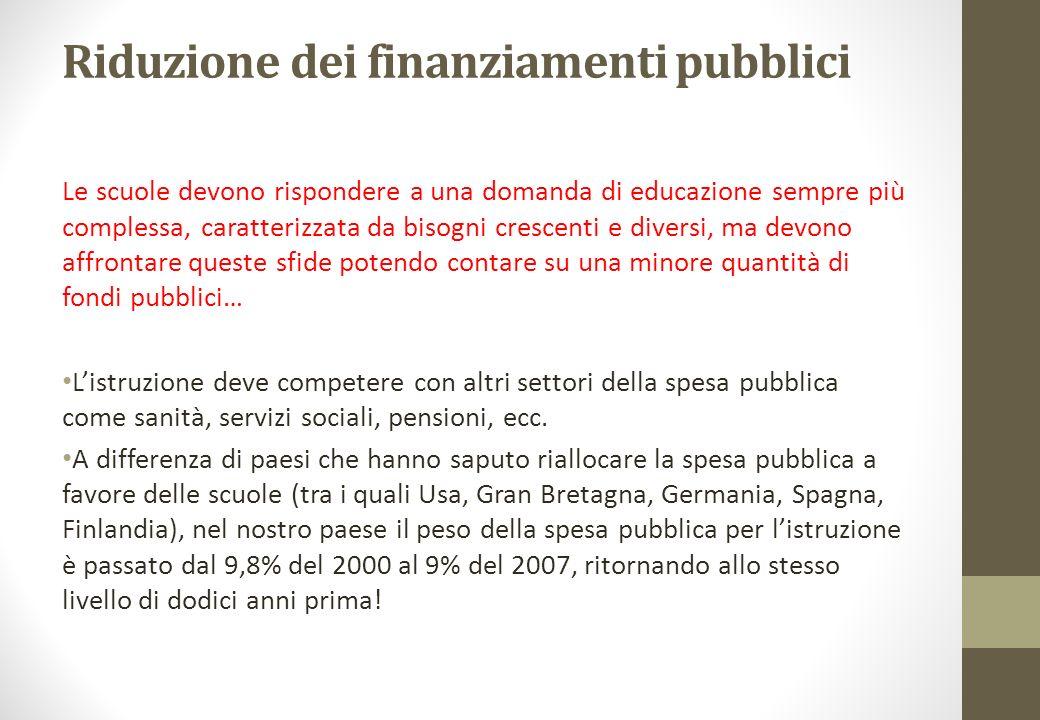 Riduzione dei finanziamenti pubblici