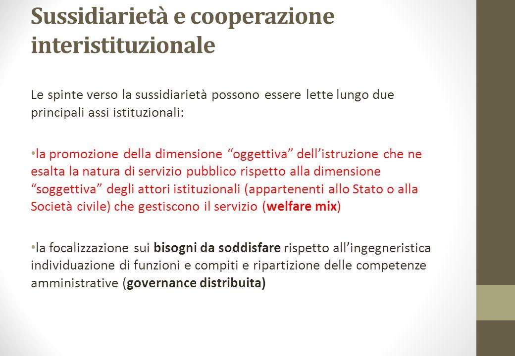 Sussidiarietà e cooperazione interistituzionale