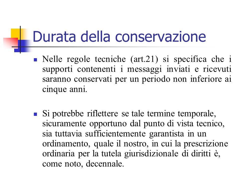 Durata della conservazione