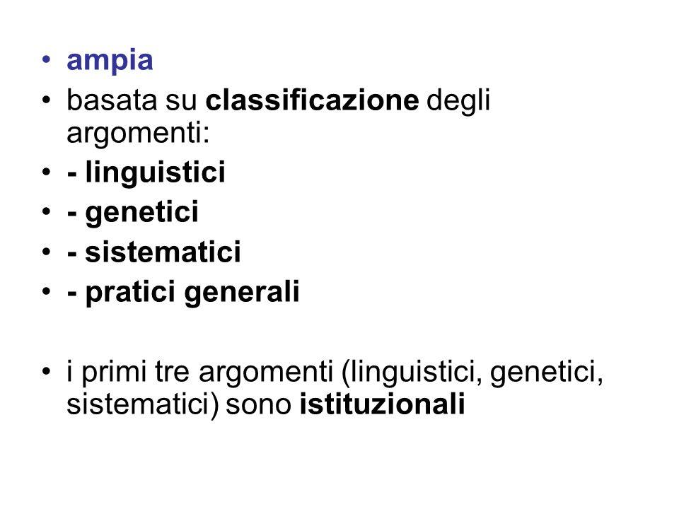 ampia basata su classificazione degli argomenti: - linguistici. - genetici. - sistematici. - pratici generali.